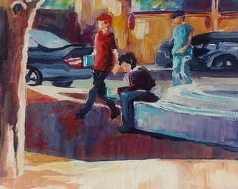 Original Painting, People in the City, City Life, colorful art