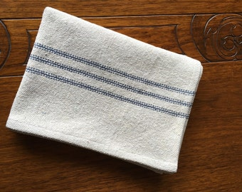 Grain Sack Kitchen Towel Blue Stripes