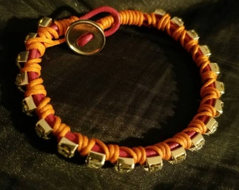 """8"""" Raspberry and Orange bracelet with crystal cup chain"""