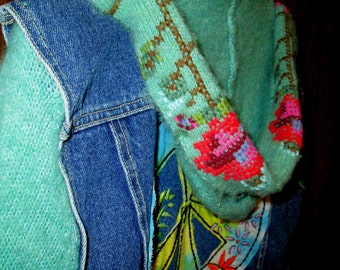 Hooded Jean Sweater Vest / Hand Embroidered / Hippie Art / Denim Vest / Peace Sign / Hoodie Sweater /  Boho / Reconstructed / Wearable Art