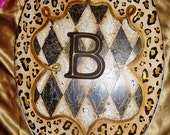 "Leopard Crest Harlequin ~ "" MacKenzie-Childs Inspired "" Toilet Seat  w choice of Monogram ~ 18"" ELONGATED seat ~ Made to Order"