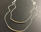 Mixed Metal Layered bar necklace
