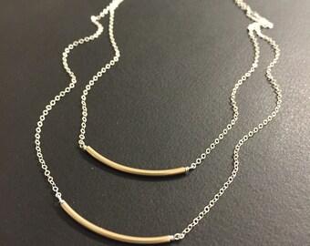 Mixed Metal Layered bar necklace