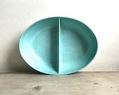 Vintage Melamine Oval Divided Dish Aqua Speckle Unmarked