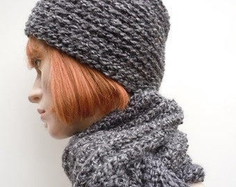 Mens Hat and Scarf Set - Charcoal Gray Black Very Soft Yarn - For Men or Women - Our Most Popular Scarf