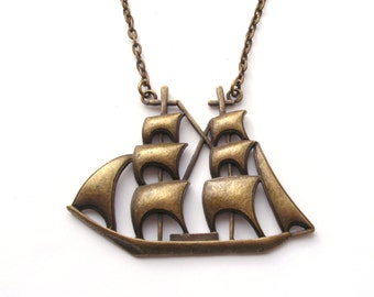 Big Bronze Boat Necklace, Large Ship Necklace, Pirate Necklace, Statement Necklace, Nautical Necklace, Long Necklace, Sail Boat