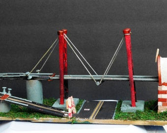 Miniature Roadway Highway Bridge with a Dead End Tunnel Replica Miniature Train set to Tabletop