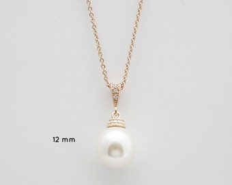 Rose Gold Pearl Bridal Necklace Swarovski Large 12mm Single Pearl Pendant Necklace Rose Gold Pearl Wedding Necklace, Amelia