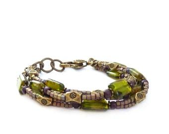 Olive Green Bohemian Multistrand Bracelet - Czech Glass Rectangle Beads - Forest Green Metallic Seed Bead Stacking Bracelet