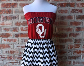University of Oklahoma Sooners OU Strapless Game Day Dress - Size Small