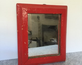 Small Vintage Red Wooden Mirror