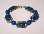 1940s lapis glass bracelet