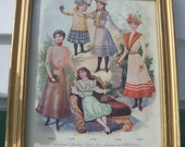 Victorian Era Fashion Plate Fashion Illustration Childrens Victorian Style Framed