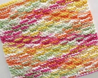 Knit Dishcloth, Cotton Washcloth, Knitted Dishcloth, Rainbow Sherbet Kitchen Cloth