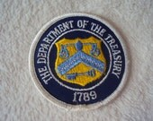 vintage 70s The Department of the Treasury  1789 Iron On Sew On Patch