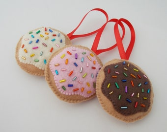 Iced Sugar Cookies with Sprinkles Christmas Ornaments - Set of 3
