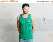 SALE . 80s ADIDAS Originals T-Shirt . Vintage Green Trefoil Logo Tank Top Sleeveless Shirt 1980s Summer Top Tee Boyfriend Gift . Medium Larg