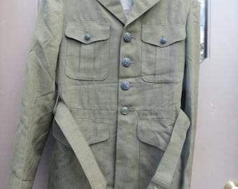 Vintage WW2  U.S.   military Wool Jacket tunic Coat 37R Cavalier Gabardine Green W BELT