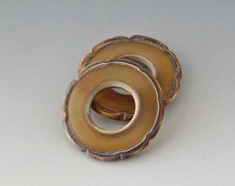 Rustic Ruffle Discs - (2) Handmade Lampwork Beads - Amber