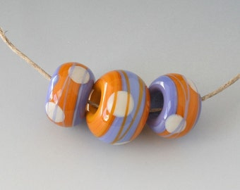 Southwest BHB Set - (3) Handmade Lampwork Beads - Lavender, Yellow Gold
