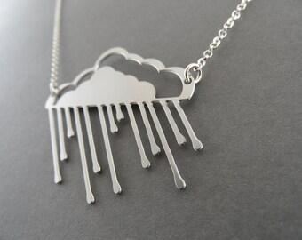 gold cloud, rainy cloud necklace, cloud necklace, rain cloud, hollow, silver cloud