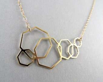 geometric jewelry, geometric necklace, heptagon necklace