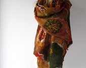 Nuno felted  scarf,  leaf green yellow  scarf,   warm winter scarf,  leaves scarf , women felt shawl by Galafilc