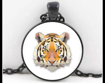 Tiger, Tiger Pendant, Tiger Necklace, Tiger Jewelry, Glass Necklace - P-CA-1