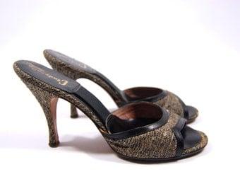 1950s Tweed Springolator Pumps // Cinderella // Brown and Black Tweed - Stiletto Heels Size 5.5