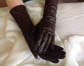 "Vintage Brown Leather Opera Gloves - Size 7 1/2 - Length 13"""