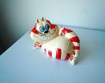 Vintage Chesire Cat Bank, Kitsch Cat Bank, Retro Alice in Wonderland Bank, SALE