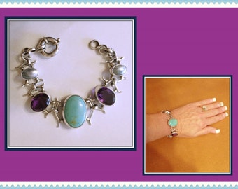Vintage Chunky Sterling Silver Bracelet, Multi Stone, Amethyst Color, Turquoise, Abalone, 1994