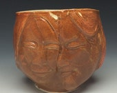 Lovers Face Cup Sculpture Tea Bowl Couple Art Pottery Vessel