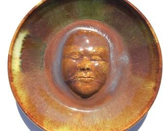 Bird bath face sculpture wall hanging platter portrait bas relief bowl figure art pottery serving plate