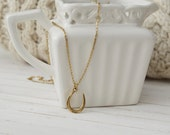 Women's Preppy Dainty Charm Necklace - Gold Horseshoe