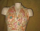 Halter Top Polyester Floral One Size 70s Vintage