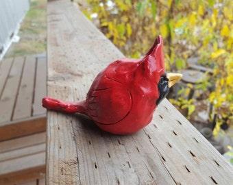 Stoneware Cardinal sculpture