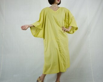 Boho Casual Elegant Plus Size /4 Sleeve Drop Shoulder V Neck Azo Free Color Yellow Light Cotton Dress With Lining - SM688