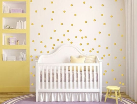 polka dot vinyl wall decals circle wall decals gold polka. Black Bedroom Furniture Sets. Home Design Ideas