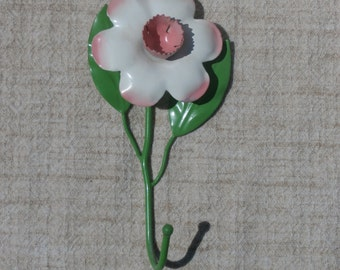 Shabby Sweet Metal Wall Flower Hook, Pink Flower, Chippy Paint Tole Style ON SALE, Clearance