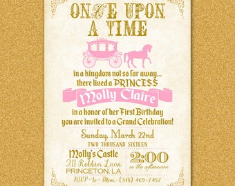 Princess Party Invitation, Fairy Tale Birthday Party Invite, Once Upon a Time, Horse and Carriage, Pink and Gold, Digital File Printable 5x7