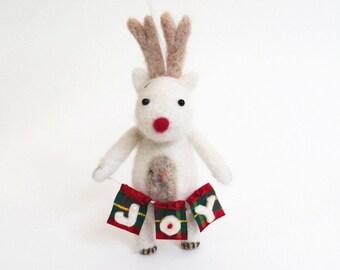 Needle felted animal, Christmas deer ornament - white felt Rudolph reindeer with a banner joy, Xmas woodland decor