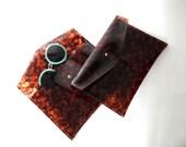Tortoiseshell vinyl plastic Sarah envelope clutch (Handmade to Order)