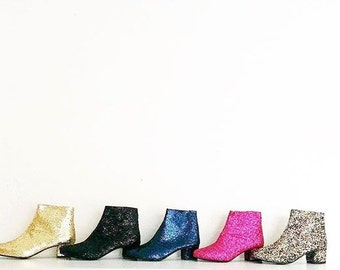 Edie Glitter Heeled Ankle Boots (Handmade to Order)