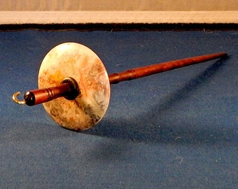 1.25 oz Lace Agate Stone Top Whorl Drop Spindle - Handmade