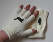 Ivory Fingerless Gloves with Black Cat and Crow