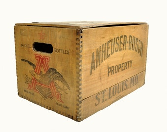Vintage Beer Crate - Anheuser Busch / Wood Beer Tote / Large Wooden Box / Industrial Storage