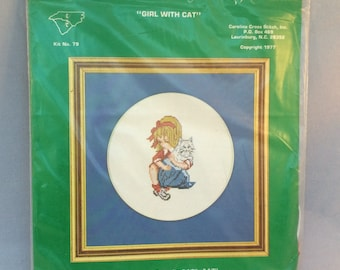 """Vintage Carolina Cross Stitch Inc. Kit- """"Girl With Cat"""" Complete with Aida Cloth and Yarn- 1977-New In Original Packaging"""