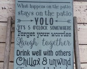 Patio Rules Sign  CUSTOM Patio Extra Large Custom Rustic Rules Sign Primitive 14x24 Typography  subway sign