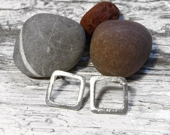 Handmade Sterling Silver square stud earrings - rough satin finish